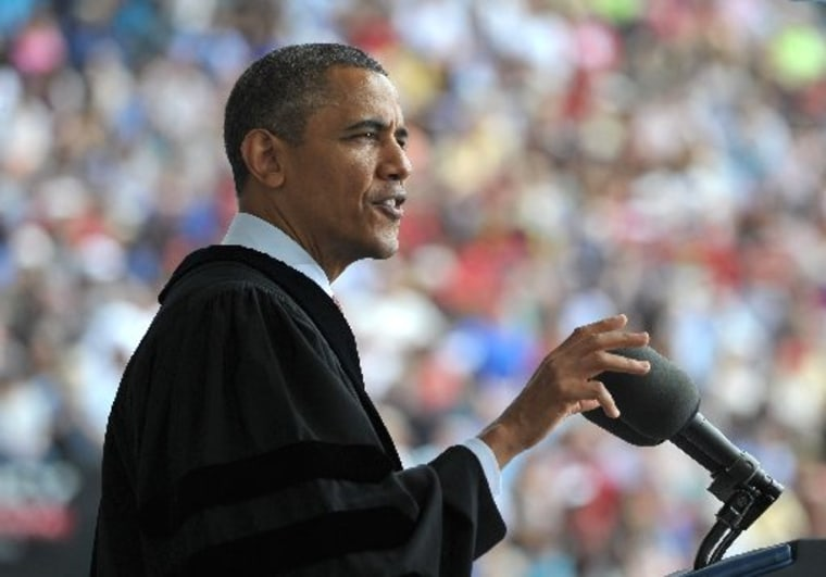 President Barack Obama delivers the commencement address during a ceremony at Ohio State University on May 5, 2013 in Columbus, Ohio. (Photo by: Mandel/AFP Photo/Getty Images)