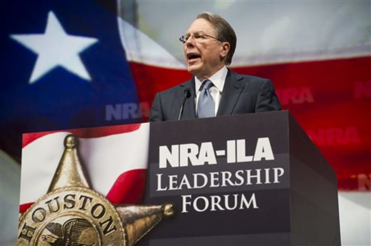 NRA Executive Vice President and CEO Wayne LaPierre at this year's NRA convention in Houston. (AP Photo/Steve Ueckert)
