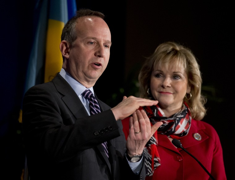 National Governors Association Chairman Gov. Jack Markell of Delaware, left, with Vice Chariman Gov. Mary Fallin of Oklahoma speaks during a news conference at the NGA Winter Meeting in Washington, Saturday, Feb. 23, 2013. The nation's governors say...