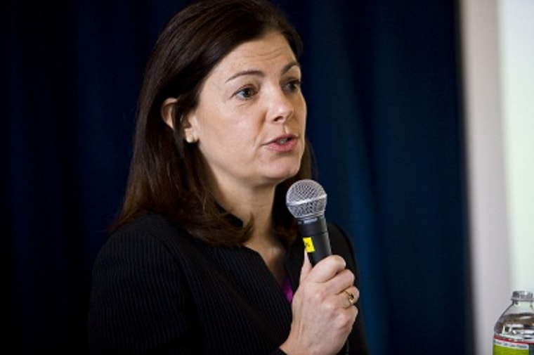 Senator Kelly Ayotte (R-NH) speaks at a town hall in Warren, NH, the first since voting against a bill that would increase background checks for gun buyers. (Photo by Frank Thorp/NBC News)