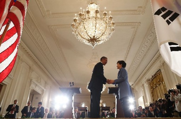 WASHINGTON, DC - MAY 07: U.S. President Barack Obama shakes hands with South Korea President Park Geun-hye during a news conference in the East Room at the White House, May 7, 2013 in Washington, DC. The two leaders talked about the 60th anniversary of...