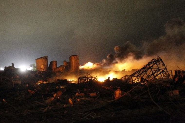 The remains of a fertilizer plant burn after an explosion at the plant in the town of West, near Waco, Texas, in this file picture taken early April 18, 2013.(REUTERS/Mike Stone/Files)