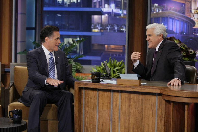 Former Republican presidential candidate, Gov. Mitt Romney talks with Jay Leno during his appearance on The Tonight Show on March 27, 2012 in Burbank, Calif. (Photo by Paul Drinkwater/NBC/AP)
