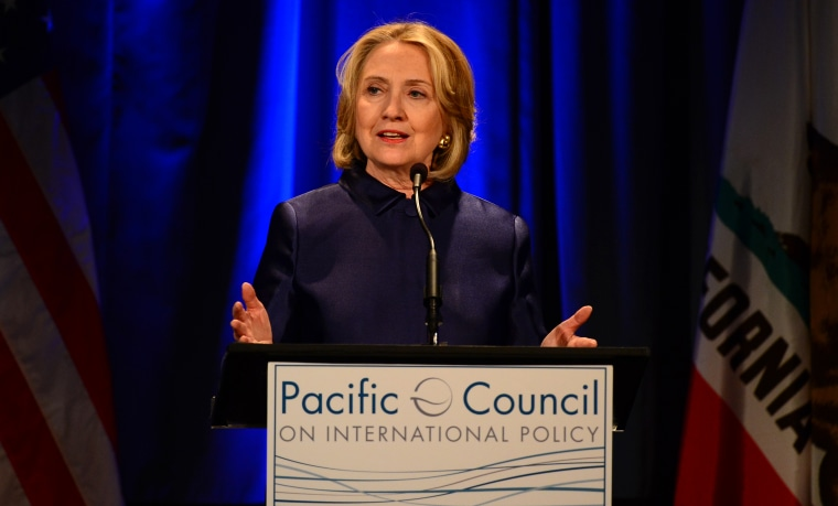 Fomer U.S. Secretary of State Hillary Rodham Clinton speaks at an event hosted by The Pacific Council on International Policy in Los Angeles, California on May 8, 2013. (Photo by Frederic J. Brown/AFP/Getty)
