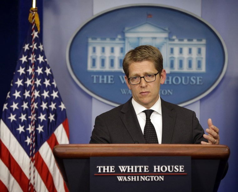 White House press secretary Jay Carney during his daily news briefing at the White House in Washington, Wednesday, May, 8, 2013.  Carney charged Wednesday that the continued scrutiny of the administration's behavior around last year's attack in...