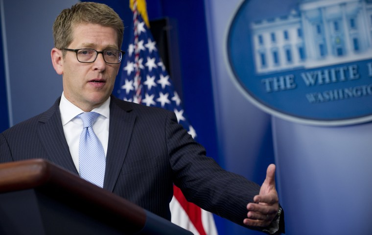 White House Press Secretary Jay Carney speaks during the daily press briefing in the Brady Press Briefing Room at the White House. (Photo by Saul Loeb/Getty Images)