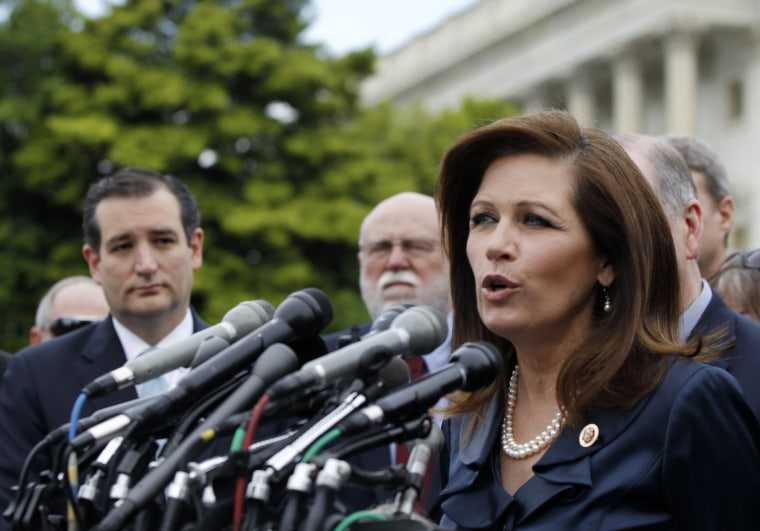 Rep. Michele Michele Bachmann, chair of the Tea Party Caucus, speaks on Capitol Hill, Thursday, May 16, 2013, during a news conference with Tea Party leaders. (Photo by Molly Riley/AP)