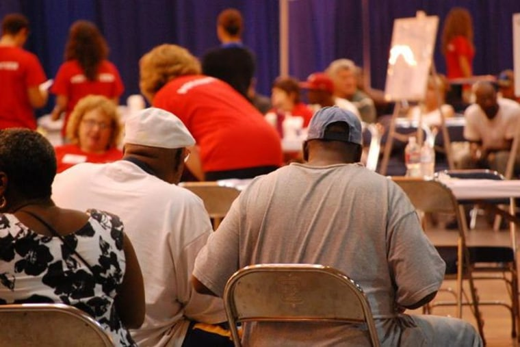Patient wait for care at a free clinic organized by the National Association of Free & Charitable Clinics in New Orleans. (Image via NAFC)