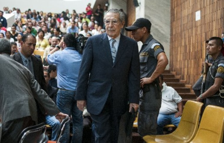 File Photo: Guatemala's former dictator General Efraín Ríos Montt enters the court in Guatemala City, Friday, April 19, 2013. (Photo by: Luis Soto/AP Photo)