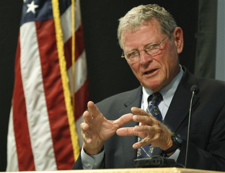 Sen. Jim Inhofe (pictured) and his fellow GOP Oklahoma senator, Tom Coburn, are finding blind ideology a bit difficult at the moment.(AP Photo/Sue Ogrocki)