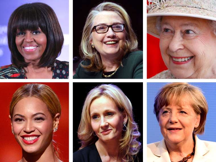 This digital composite shows (L-R, clockwise) U.S. first lady Michelle Obama. (Photo by Chip Somodevilla/Getty Images) Former U.S Secretary of State Hillary Clinton. (Photo by Saul Loeb/AFP/Getty Images) Queen Elizabeth II. (Photo by Kirsty...