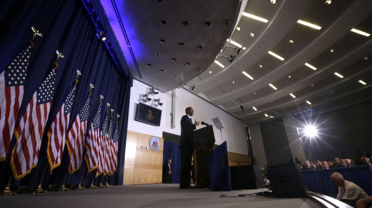 """President Barack Obama talks about national security, Thursday, May 23, 2013, at the National Defense University at Fort McNair in Washington. Declaring America at a """"crossroads"""" in the fight against terrorism, the president revealed clearer guidelines..."""