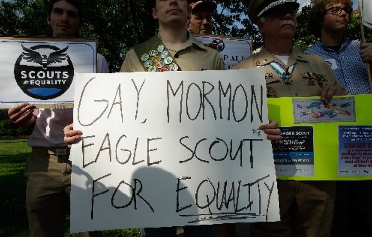 """WASHINGTON, DC - MAY 22:  Members of Scouts for Equality hold a rally to call for equality and inclusion for gays in the Boy Scouts of America as part of the """"Scouts for Equality Day of Action"""" May 22, 2013 in Washington, DC. The Boy Scouts of America..."""