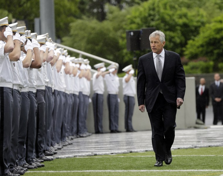 Defense Secretary Chuck Hagel arrives for a graduation and commissioning ceremony at the U.S. Military Academy, Saturday, May 25, 2013, in West Point, N.Y. (AP Photo/Mike Groll)