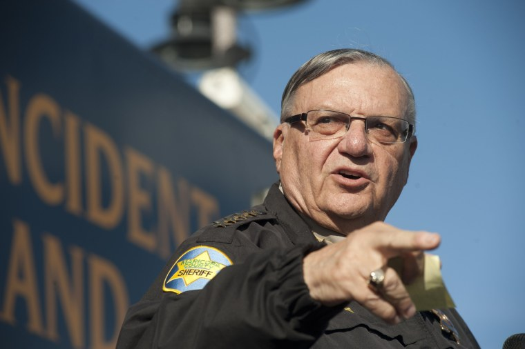 Maricopa County Sheriff Joe Arpaio announces newly launched program aimed at providing security around schools in Anthem, Arizona, January 9, 2013. Arpaio plans to start deploying a volunteer posse to Phoenix-area schools as part of a new program to...
