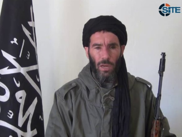 This image from video provided by the SITE Intel Group made available Thursday Jan. 17, 2013, purports to show militant militia leader Moktar Belmoktar. Credit: SITE Intel Group via AP, file