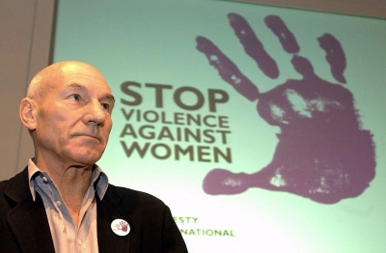 Actor and Amnesty International supporter Patrick Stewart pauses during a press conference for the Amnesty International Stop Violence Against Women Campaign in London Friday March 5, 2004. (Photo by Ian West/AP)