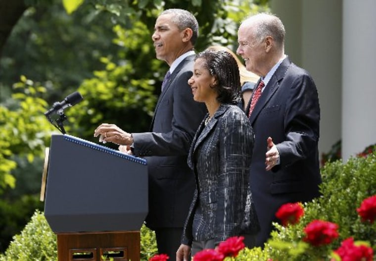 President Barack Obama (L) announces the appontment of Susan Rice (2ndR) as his new national security advisor, as he stands with current National Security Advisor Tom Donilon (R) in the Rose Garden of the White House in Washington, June 5, 2013. (Photo...