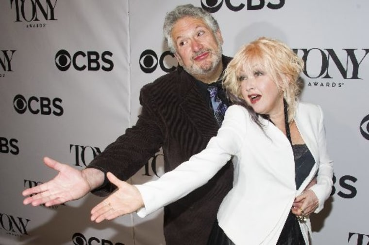 """Harvey Fierstein, left, and Cyndi Lauper attend the 2013 Tony Awards Meet the Nominess press reception on Wednesday, May 1, 2013 in New York. """"Kinky Boots"""" earned 13 Tony Award nominations Tuesday. The awards will be broadcast on CBS from Radio City..."""