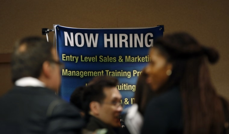 Job seekers wait to meet with employers at a career fair in New York City, in this October 24, 2012 file photo. (Photo by Mike Segar/Reuters)