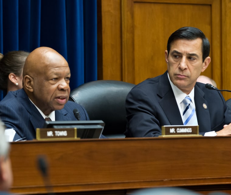 The House Oversight and Government Reform Committee, led by Chairman Darrell Issa, R-Calif., right, sitting next to  Rep. Elijah Cummings D-Md., Wednesday, June 20, 2012. (AP Photo/J. Scott Applewhite)