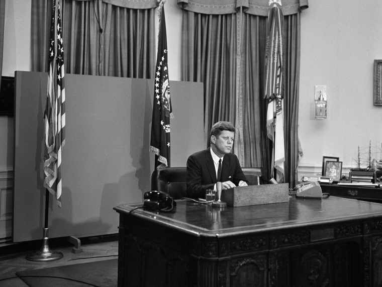 President John F. Kennedy is shown as he started his radio-television address to the nation on civil rights, June 11, 1963 in Washington. (Photo by Charles Gorry/AP)