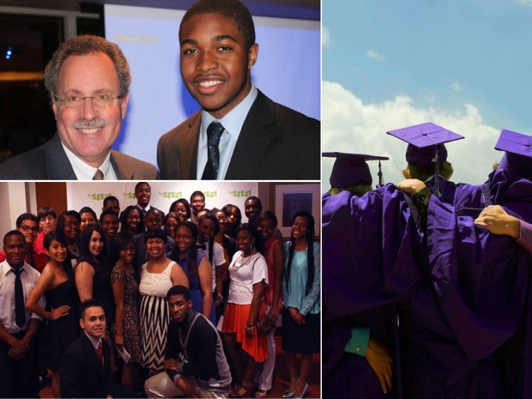 This digital composite shows file photos (L-R, clockwise) Uchenna Eze stands with his N.J. SEEDS mentor, Roy Cohen. (Photo courtesy of N.J. SEEDS) Students pose for photos before a graduation ceremony on May 22, 2013. (Photo by Seth McConnell/The...
