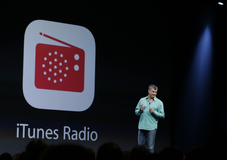 Eddy Cue the Apple senior vice president of Internet Software and Services introduces the new iTunes Radio during the keynote address of the Apple Worldwide Developers Conference Monday, June 10, 2013 in San Francisco. (AP Photo/Eric Risberg)