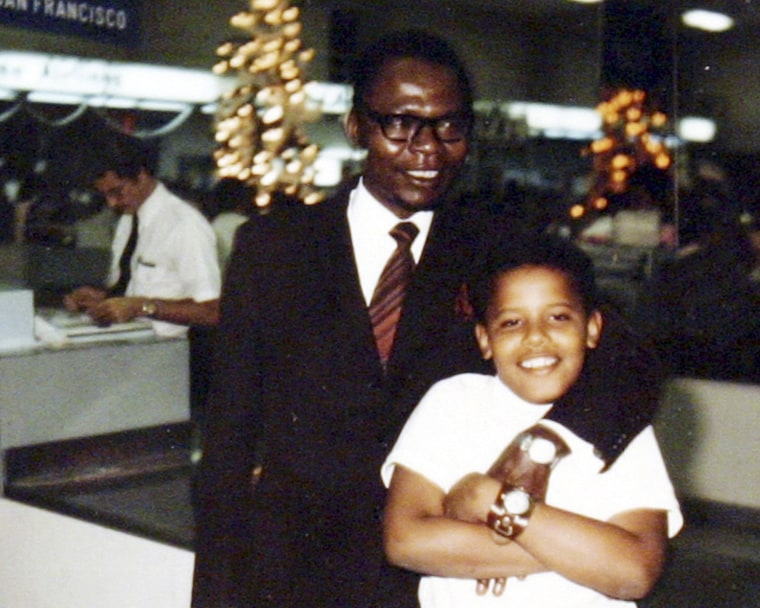 FILE - President Barack Obama as a young boy, and his father, also named Barack Obama.  (AP Photo/Obama for America, File)