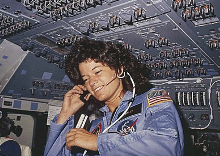 (FILE) This NASA file photo dated June 1983 shows America's first woman astronaut Sally Ride, as she communicates with ground controllers from the flight deck during the six-day space mission of the Challenger. (AFP PHOTO/NASA)