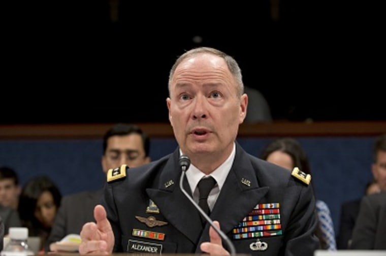 NSA Director Gen. Keith Alexander testifies on Capitol Hill in Washington, Tuesday, June 18, 2013, before the House Intelligence Committee. (Photo by J. Scott Applewhite/AP)