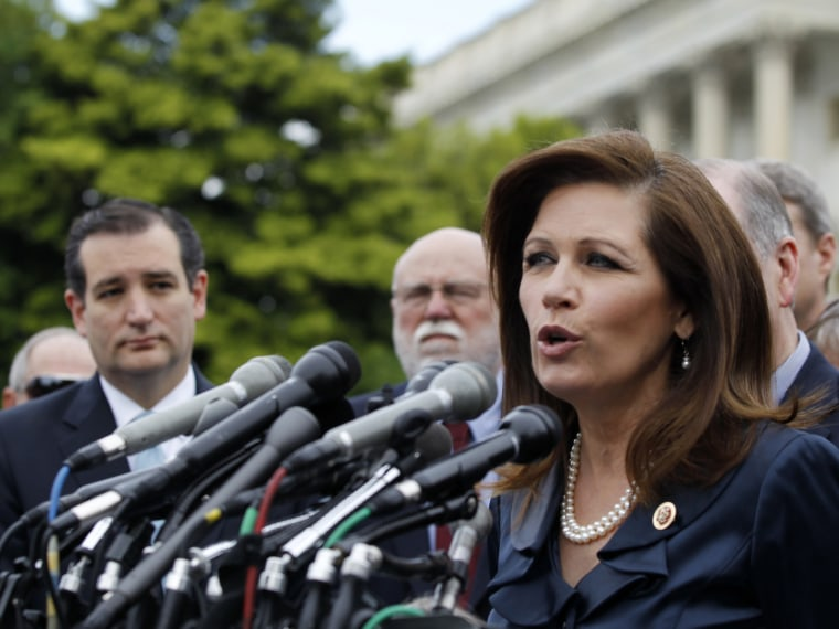 File photo: Rep. Michele Bachmann, R-Minn. chair of the Tea Party Caucus speaks on Capitol Hill in Washington, Thursday, May 16, 2013. (Photo by Molly Riley/AP Photo)