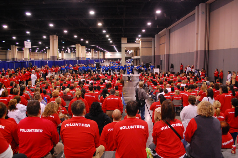 Volunteers wait for instructions at one of the National Association of Free and Charitable Clinics events