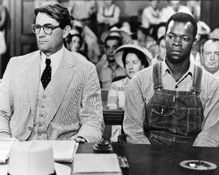 File Photo: Actors Gregory Peck as Atticus Finch and Brock Peters as Tom Robinson in the film 'To Kill a Mockingbird', 1962.  (Photo by Silver Screen Collection/Getty Images)