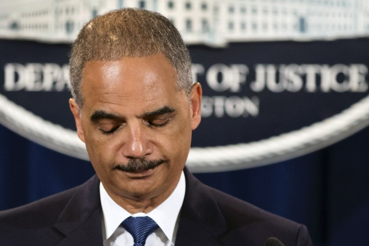 Attorney General Eric Holder expresses disappointment in the Supreme Court's 5-4 ruling in the Alabama voting rights case, Shelby County v. Holder, Tuesday, June 25, 2013, at the Justice Department in Washington. The court declared unconstitutional a...