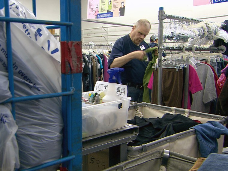 Harold Leigland works at the Goodwill facility in Great Falls, Montana, where he earns $5.46 an hour.