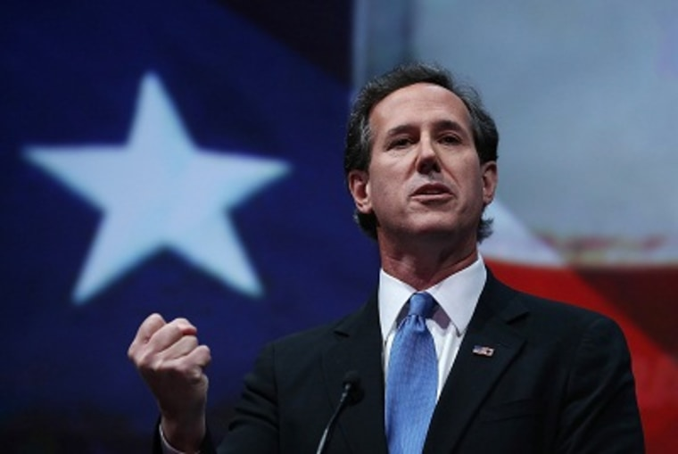 Rick Santorum speaks during the 2013 NRA Annual Meeting and Exhibits at the George R. Brown Convention Center on May 3, 2013 in Houston, Texas. (Photo by Justin Sullivan/Getty Images)