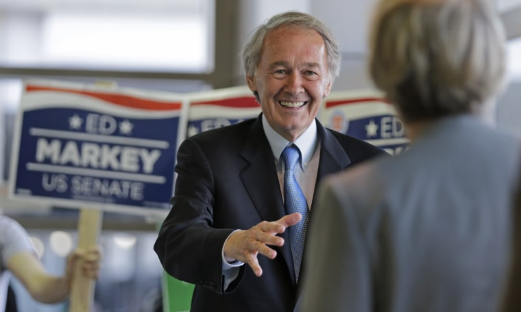 Democratic U.S. Senate hopeful, Mass. Rep. Edward Markey, D-Malden, smiles as he asks commuters for their vote while campaigning at North Station in Boston, Monday, April 29, 2013. Markey and U.S. Rep. Stephen Lynch, D-Boston, vying for their party's...