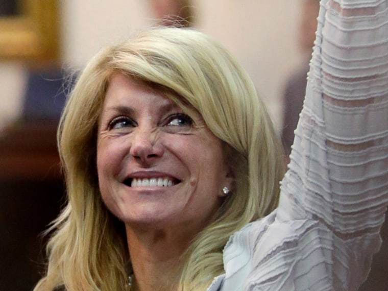 Sen. Wendy Davis of Texas filibustered for 11 hours a bill that would have banned abortions after 20 weeks of pregnancy. (AP Photo/Eric Gay)