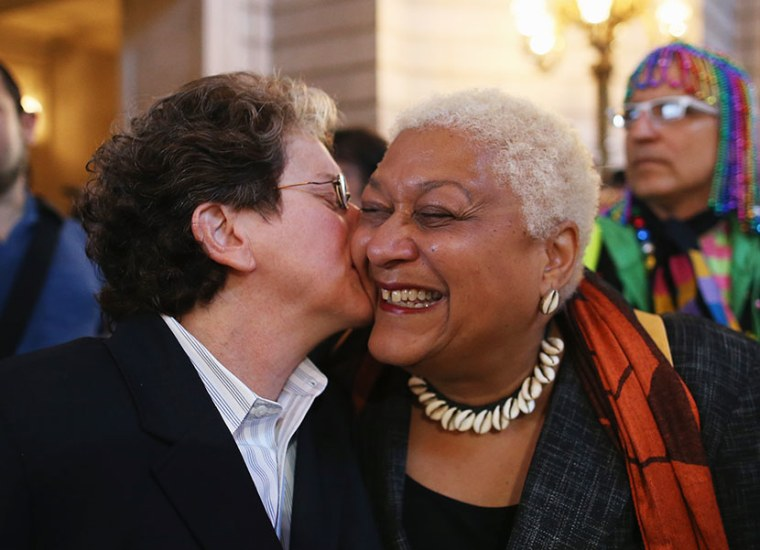 A couple celebrates upon hearing the U.S. Supreme Court has struck down the Defense of Marriage Act at City Hall June 26, 2013 in San Francisco, United States. The high court ruled on DOMA, and will rule on California's Prop 8 as well.  (Photo by...