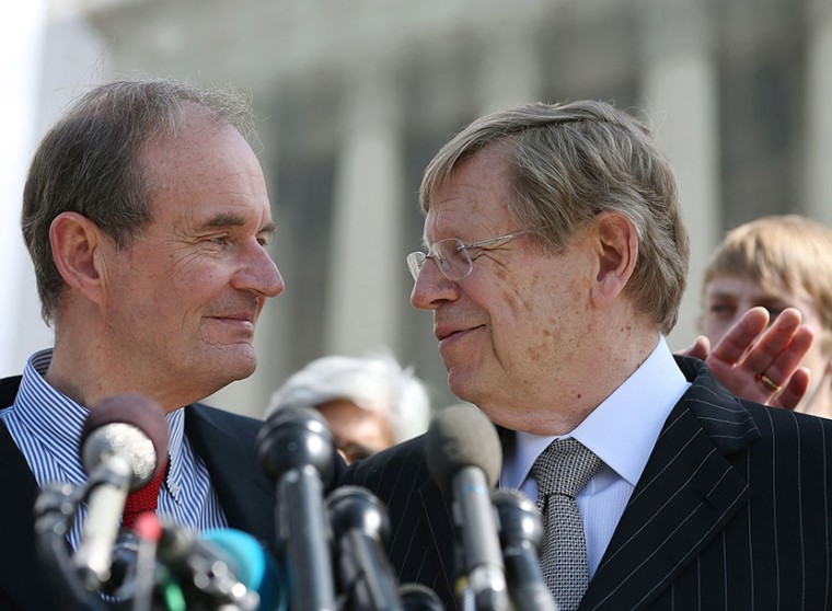 Plaintiff attorneys David Boies (L) and Ted Olson talk to the media after oral arguments at the U.S. Supreme Court, on March 26, 2013 in Washington, DC. Today the high court heard arguments in California's Proposition 8, the controversial ballot...