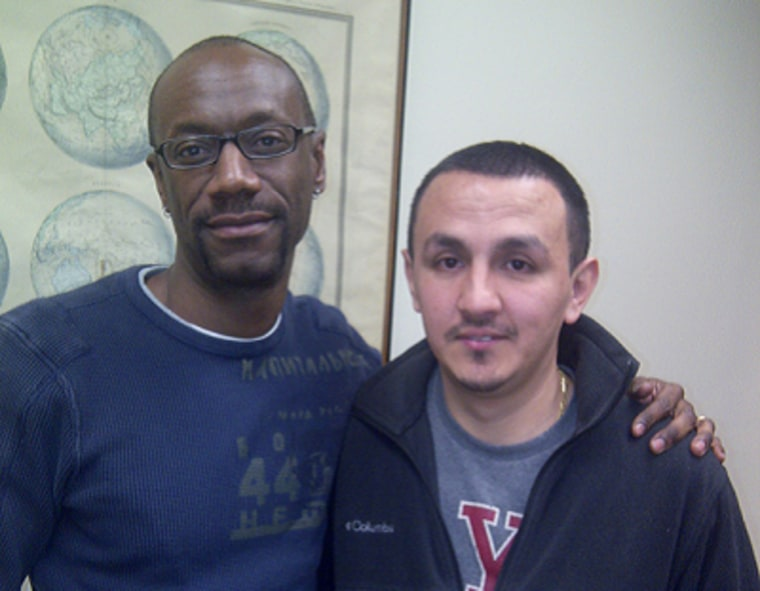 Sean and Steven Brooks preparing Tuesday morning for Wednesday's deportation hearing. (Photo credit: The DOMA Project)