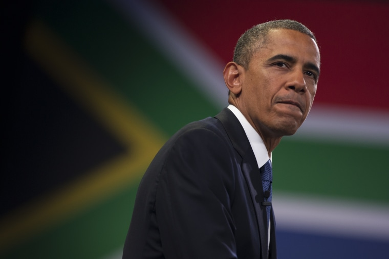 U.S. President Barack Obama pauses during a town hall meeting with young African leaders at the University of Johannesburg Soweto on Saturday, June 29, 2013, in Johannesburg, South Africa. (AP Photo/Evan Vucci)
