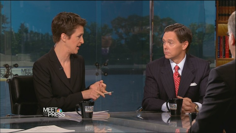 msnbc host Rachel Maddow and Ralph Reed of the Faith and Freedom Coalition. (Via msnbc)