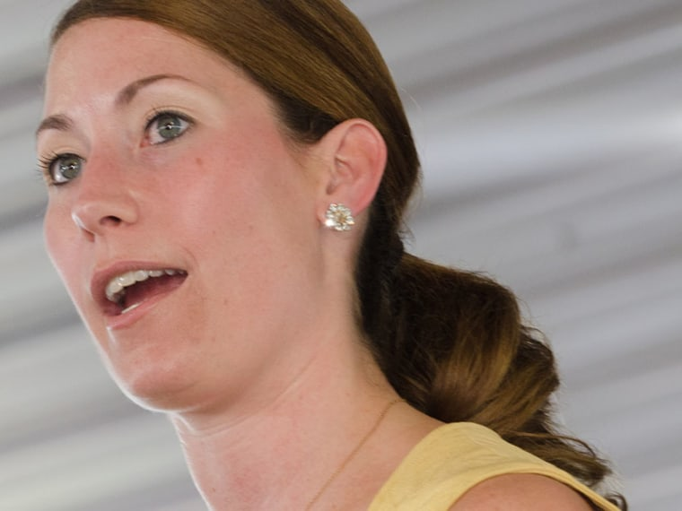 Alison Lundergan Grimes, who is running for Secretary of State in Kentucky, speaks at the 131th annual Fancy Farm Picnic, Aug, 6, 2011 in Fancy Farm, Ky. (Photo by Daniel R. Patmore/AP)