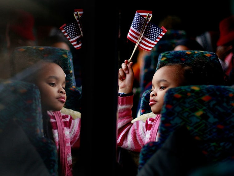 Torri Tippett, 8, from Birmingham, Alabama rides on a bus to attend the inauguration of Barack Obama on January 19, 2009. Birmingham, along with Selma and Montgomery, were touchstones in the civil rights movement where Dr. Martin Luther King Jr. led...