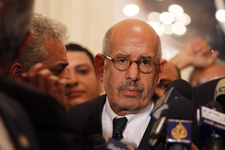 Egyptian opposition leader and Nobel Prize laureate Mohamed ElBaradei leaves at the end of a joint press conference on November 22, 2012, in Cairo. ElBaradei is expected to be named as interim prime minister July 6, 2013. (Photo by AFP/Getty Images