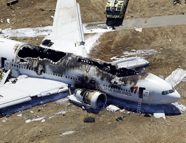 This aerial photo shows the wreckage of the Asiana Flight 214 airplane after it crashed at the San Francisco International Airport in San Francisco, Saturday,  July 6, 2013. (AP Photo/Marcio Jose Sanchez)
