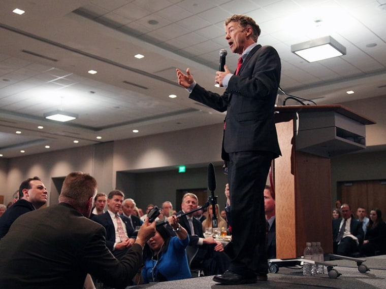 Sen. Rand Paul, R-Ky., speaks at the Iowa GOP Lincoln Dinner event, Friday, May 10, 2013, at the Hotel at Kirkwood Center, in Cedar Rapids, Iowa. (Photo by Matthew Holst/AP)