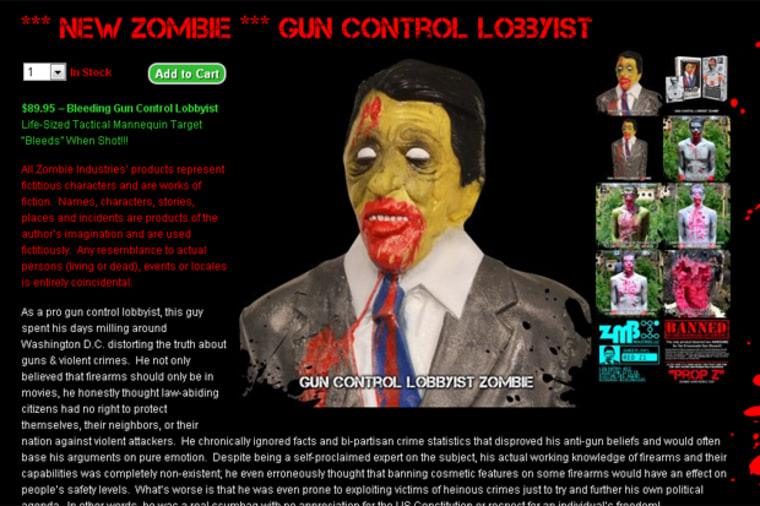 This screenshot from Zombie Industries' website shows its latest product: the Zombie Gun Control Lobbyist shooting target
